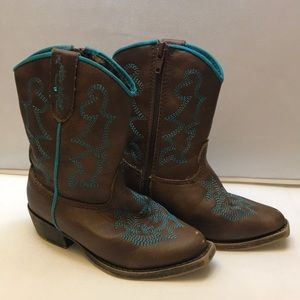 Blazin Roxx toddler boots size 6 brown & blue